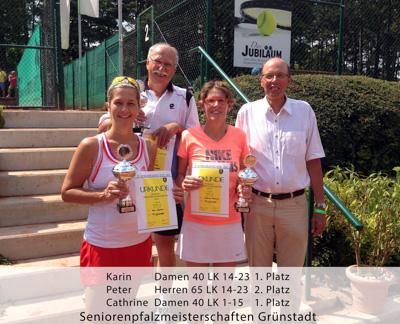 Seniorenpfalzmeisterschaften - Karin - Damen 40 - 1.Platz - Peter - Herren 65 - 2. Platz - Cathrine - Damen 40 - 1.Platz