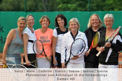 Sonja, Marei, Cathrine, Evelyn, Sabine, Sabine, Sabine - Pfalzmeister und Aufsteiger in die Verbandsliga - Damen 40 I