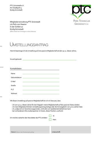 Umstellungsformular PTC Grünstadt